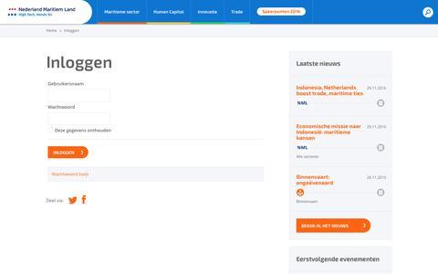 Screenshot of Login Page maritiemland.nl - Inloggen - Nederland Maritiem Land - captured Nov. 29, 2016