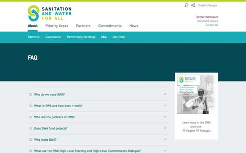 Screenshot of FAQ Page sanitationandwaterforall.org - FAQ - SWA - captured Sept. 30, 2014