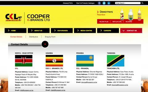 Screenshot of Contact Page coopers.co.ke - Cooper K-Brands Ltd - Contact Details - captured Nov. 12, 2016