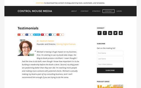 Screenshot of Testimonials Page controlmousemedia.com - Testimonials - Control Mouse Media - - captured Nov. 11, 2016