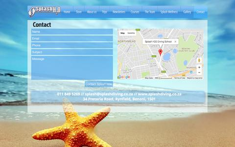 Screenshot of Contact Page splashdiving.co.za - splash | Contact - captured Oct. 27, 2017