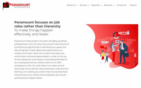 Screenshot of Team Page paramountsoft.net - Paramount focuses on job roles rather than hierarchy | Paramount Software Solutions - captured Feb. 16, 2019