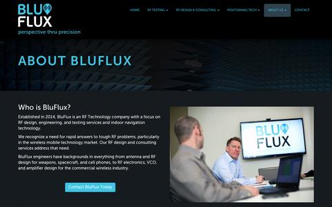 Screenshot of About Page bluflux.com - About Blu Flux: RF Technology and Indoor Microlocation Experts | BluFlux - captured Oct. 5, 2014