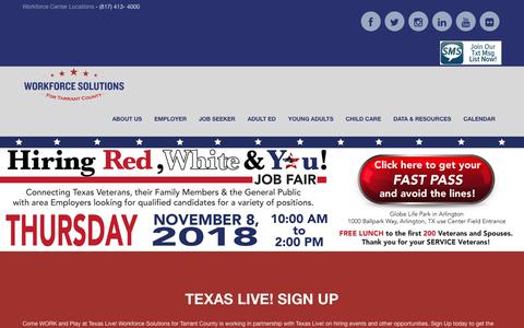 Screenshot of Home Page workforcesolutions.net - Home - Workforce Solutions for Tarrant County - captured Oct. 18, 2018