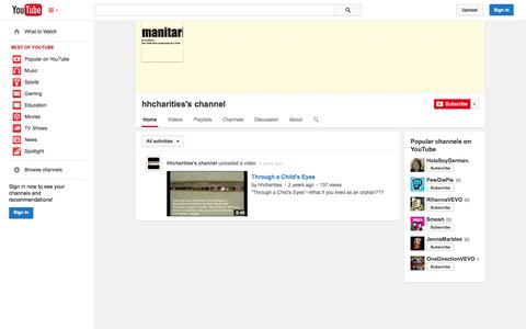 Screenshot of YouTube Page youtube.com - hhcharities's channel  - YouTube - captured Oct. 23, 2014