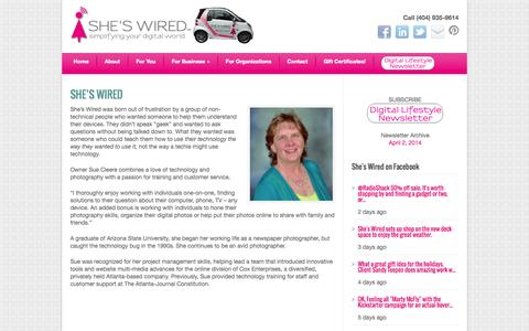 Screenshot of About Page sheswired.com - About - She's Wired - captured Oct. 26, 2014