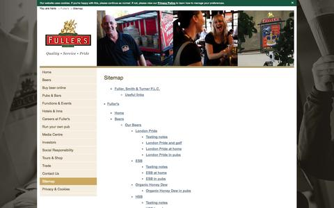 Screenshot of Site Map Page fullers.co.uk - Sitemap - captured Sept. 23, 2014