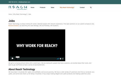 Screenshot of Jobs Page reachtech.com - Jobs | Reach Technology - captured Jan. 16, 2020