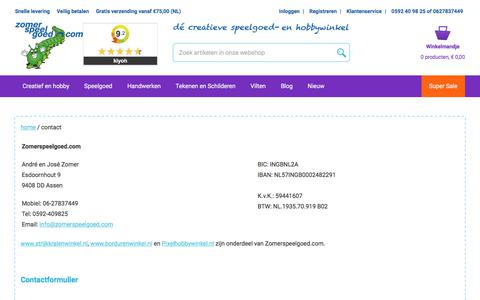 Screenshot of Contact Page zomerspeelgoed.com - Contact - captured Nov. 5, 2017