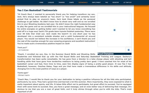 Screenshot of Testimonials Page yesicanbasketball.com captured Oct. 27, 2014