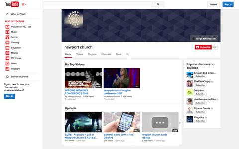 Screenshot of YouTube Page youtube.com - newport church  - YouTube - captured Oct. 25, 2014