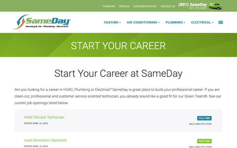 Screenshot of Jobs Page samedayutah.com - Start Your Career I Sameday Heating, Air & Plumbing - captured Oct. 1, 2018