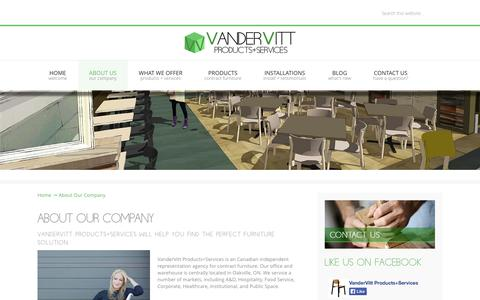 Screenshot of About Page vandervitt.com - About Our Company - VanderVitt, Products and Services - captured Oct. 9, 2014