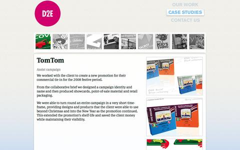 Screenshot of Case Studies Page d2e.co.uk - down2earth case study - TomTom assist campaign - captured Oct. 5, 2014