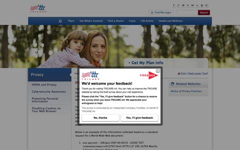 Screenshot of Privacy Page tricare.mil - Privacy | TRICARE - captured Oct. 29, 2017