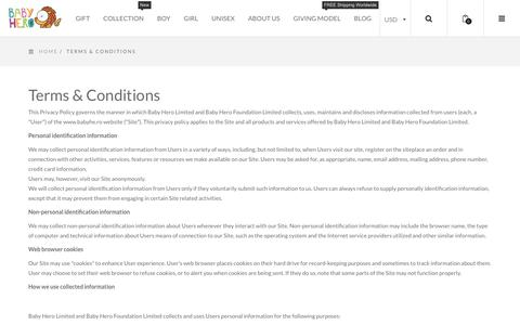 Screenshot of Terms Page babyhe.ro - Terms & Conditions - Baby Hero - captured Oct. 5, 2018