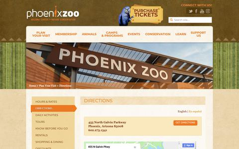 Screenshot of Maps & Directions Page phoenixzoo.org - Directions - Phoenix Zoo - captured Nov. 11, 2018