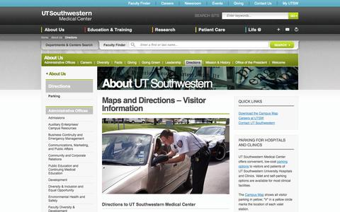 Screenshot of Maps & Directions Page utsouthwestern.edu - Maps and Directions: UT Southwestern, Dallas, Texas - captured Sept. 22, 2014