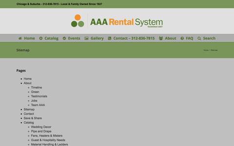Screenshot of Site Map Page aaarental.com - Sitemap - AAA Rental System - captured July 23, 2016