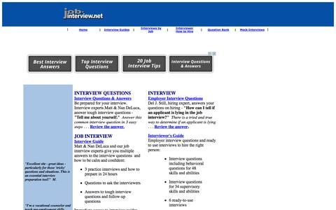 Screenshot of Home Page job-interview.net - job-interview.net - Job Interview Guide, Interview Questions and Answers, Interview Tips, Mock Interviews - captured Sept. 23, 2014