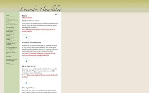 Screenshot of Press Page lucindahawksley.com - Lucinda Hawksley   | News - captured Nov. 12, 2016