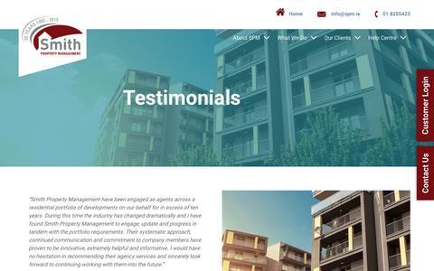 Screenshot of Testimonials Page spm.ie - Testimonials   Smith Property Management   Dublin   Ireland - captured Oct. 25, 2017