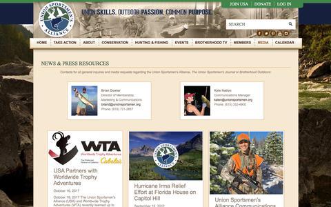 Screenshot of Press Page unionsportsmen.org - News & Press - captured Oct. 19, 2017