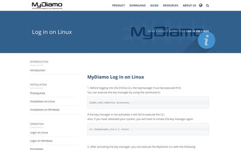 Screenshot of Login Page mydiamo.com - MyDiamo Guide - Operation - Log In - captured Sept. 27, 2018