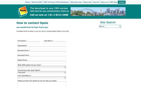 Screenshot of Contact Page opsis.com.au - Contact - captured Jan. 14, 2017