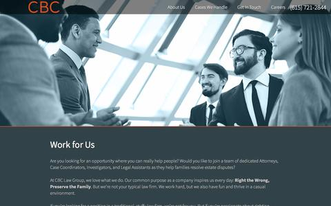 Screenshot of Jobs Page cbclawgroup.com - Work for Us | CBC Law Group - captured Jan. 23, 2016