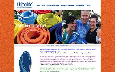 Screenshot of Testimonials Page ortholite.com - Testimonials - OrthoLite - High Performance Comfort Insoles - Open-Cell Foam Technology - Footwear Brands - captured Nov. 1, 2014