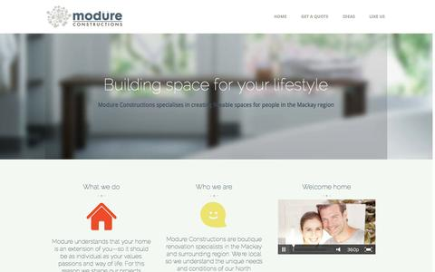 Screenshot of Home Page modure.com.au - Modure Constructions | Home - captured Oct. 7, 2014