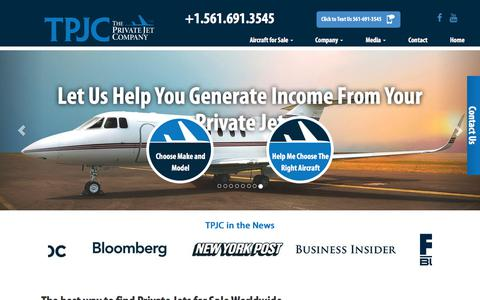 Screenshot of Home Page theprivatejetcompany.com - Buy Private Jets, Sell Your Private Jet or Trade Your Private Jet - captured July 10, 2017