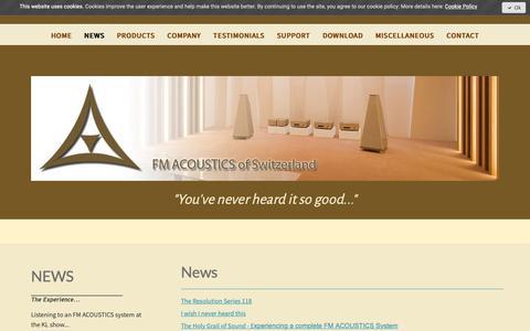 Screenshot of Press Page fmacoustics.com - News Introducing the Resolution Series FM 118 - FM ACOUSTICS LTD. - captured Oct. 10, 2018