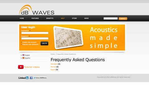 Screenshot of FAQ Page dbwaves.com - Frequently Asked Questions | dBWaves - captured Sept. 30, 2014
