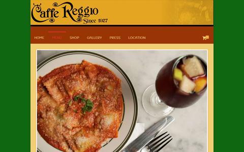 Screenshot of Menu Page caffereggio.com - MENÚ – Caffè Reggio - captured Oct. 27, 2018