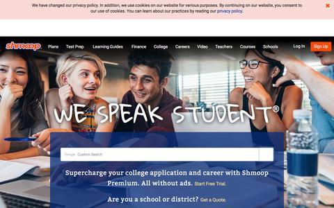 Screenshot of Home Page shmoop.com - Shmoop: Homework Help, Teacher Resources, Test Prep - captured Sept. 21, 2018