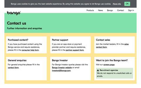Screenshot of Contact Page bango.com - Contact | Bango - captured Oct. 31, 2019