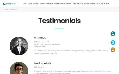 Screenshot of Testimonials Page creatiosoft.com - Testimonials - Creatiosoft Solutions Private Limited - captured Sept. 23, 2018