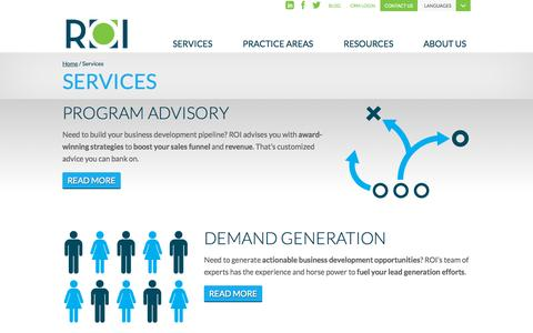 Screenshot of Services Page roivision.com - Lead Generation Services | ROI Research On Investment - captured Oct. 6, 2014
