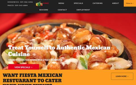 Screenshot of Home Page fiestarestaurant.com - Authentic Mexican Restaurant: Pasco, Kennewick, WA: Fiesta Mexican Restaurant - captured Nov. 25, 2016