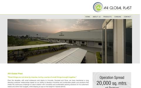 Screenshot of About Page avigloplast.com - AVI Global Plast - Environment Friendly Packing Manufacturer - About Us - captured Nov. 20, 2016