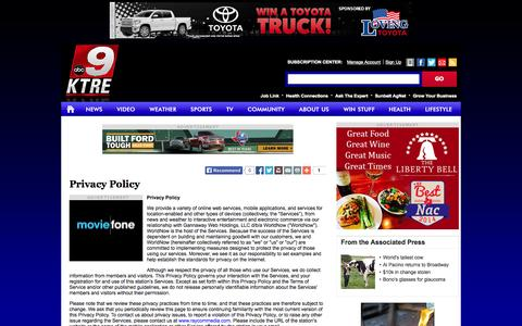 Screenshot of Privacy Page ktre.com - Privacy Policy - KTRE.com | Lufkin and Nacogdoches, Texas - captured Oct. 27, 2014