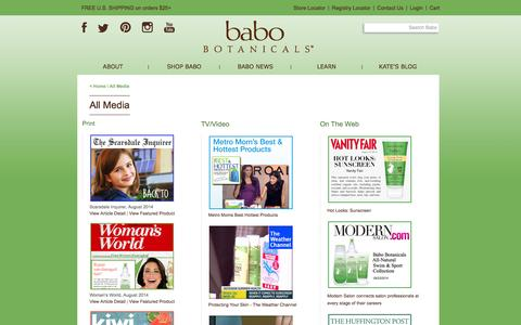 Screenshot of Press Page babobotanicals.com - Babo Botanicals | All Media - captured Oct. 30, 2014