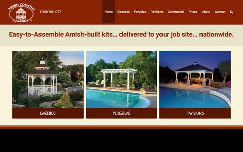 Screenshot of Home Page amishgazebos.com - Amish Built Gazebos, Pavilions and Pergolas | Amish Country Gazebos - captured July 14, 2019