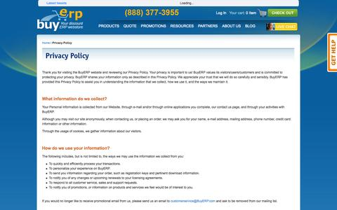 Screenshot of Privacy Page buyerp.com - Privacy Policy - captured Sept. 30, 2014
