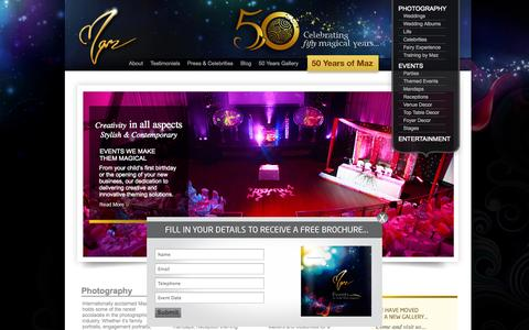 Screenshot of Home Page mazmashru.co.uk - Welcome to Maz| Wedding Photography, Event Theming, Wedding Décor, Mandaps & Stages - captured Oct. 6, 2014