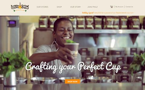 Screenshot of Home Page philzcoffee.com - Welcome to the store - captured Dec. 16, 2015