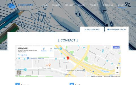 Screenshot of Contact Page ece.com.au - Consulting Engineers - Contact Details - captured Oct. 9, 2018