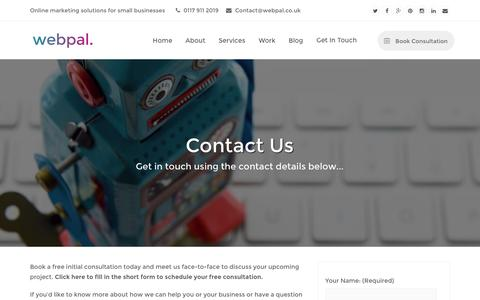 Screenshot of Contact Page webpal.co.uk - Contact Us | Webpal Online Marketing Bristol - captured Feb. 27, 2016